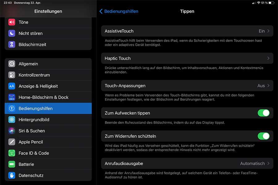 Die Einstellungen auf dem iPad Pro