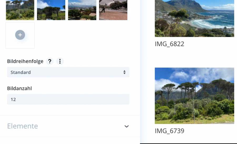 Fotos für die Bildergalerie auswählen und hinzufügen
