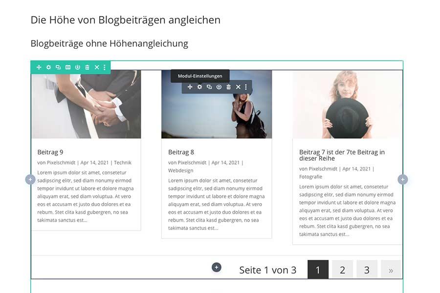 Die Moduleinstellungen des Blogs anwählen